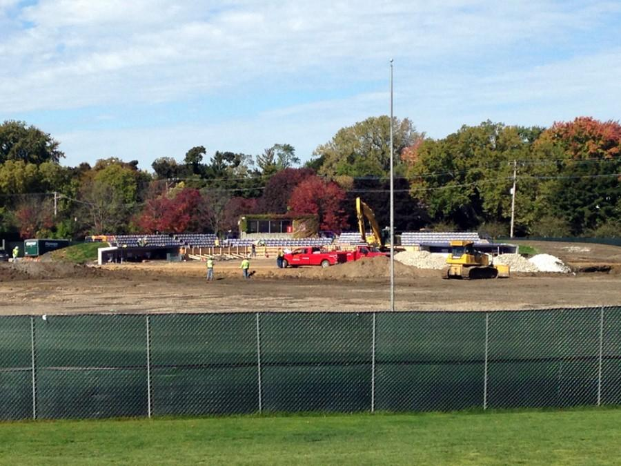 Construction work on the Wildcats' baseball field is underway at the corner of Ashland Avenue and Isabella Street. Wilmette residents have recently raised issues about Evanston and Northwestern not doing an adequate job of informing neighbors about Rocky Miller Park renovations.