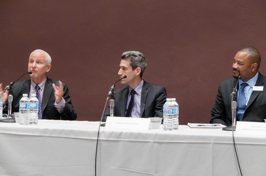 University President Morton Schapiro, State Sen. Daniel Biss (D-Evanston) and Oakton Community College administrator Merrill Irving discuss higher education affordability and access at Northwestern on Monday night. Biss said the discussion benefitted from having administrators from different institutions talk about their methods for helping low-income students.