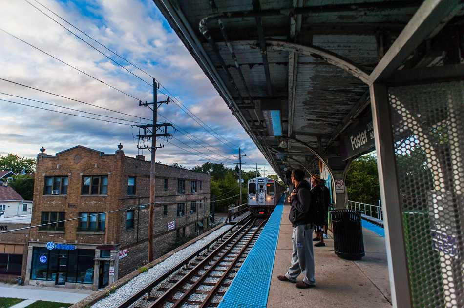 A train pulls away from a CTA station in Evanston.