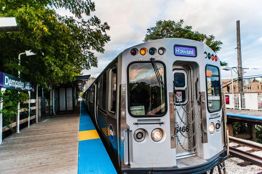 A Purple Line train pulls up to the Dempster CTA station. Evanston received the results of a transit poll for city residents and Northwestern students, which showed that many had problems with the hours of the Purple Line Express and the public bus routes.