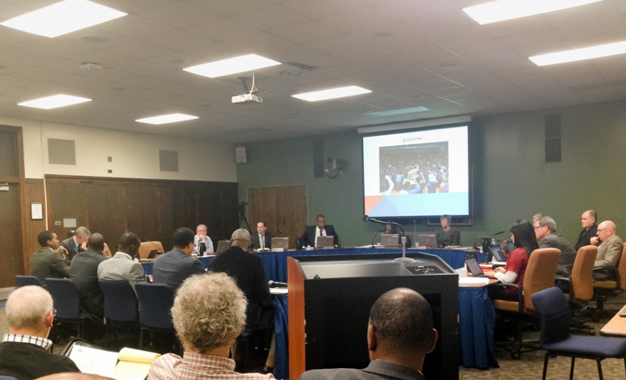 School District 202 board members talk at a meeting Monday night. Attendees discussed the positive effect of the Black Male Summit, which took place at Evanston Township High School in September.