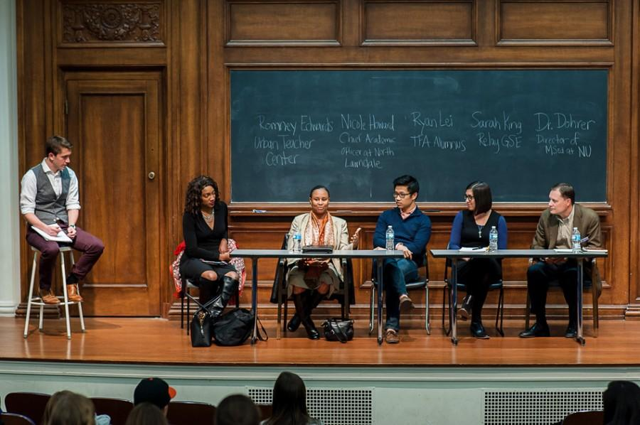 Education+experts+speak+Wednesday+in+Harris+Hall+about+the+impact+of+educational+reform+across+different+fields.+The+panel+was+hosted+by+Northwestern%E2%80%99s+chapter+of+Students+for+Education+Reform%2C+which+aims+to+inform+students+about+changes+in+education+policy+and+how+it+affects+local+schools.
