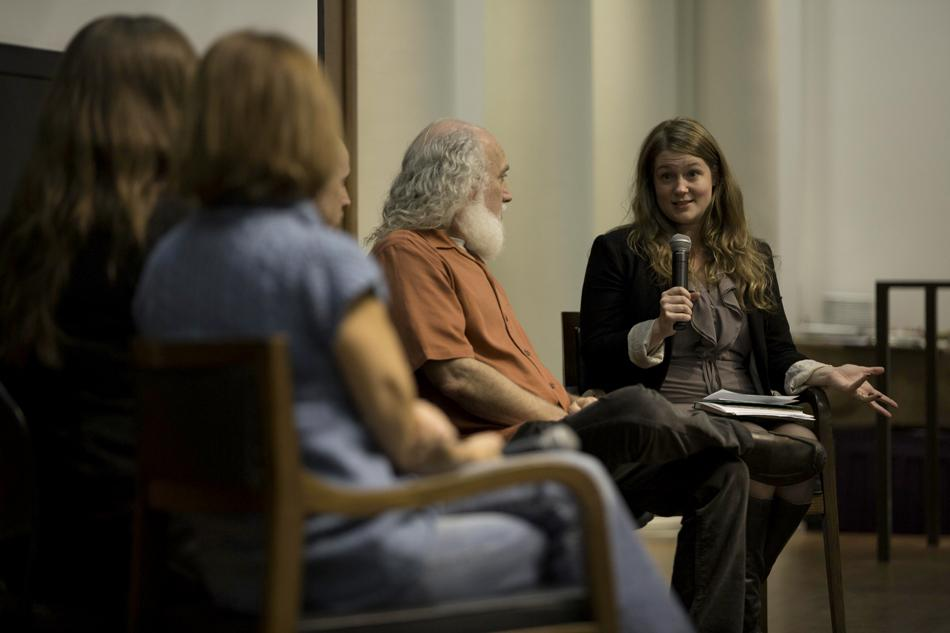 "Eloise Karlatiras, president and CEO of the Green Chicago Restaurant Coalition, moderates a discussion in Harris Hall on Wednesday night. As part of NU Sustainable Food Talks, panelists talked about the challenges restaurants face in going ""green."""