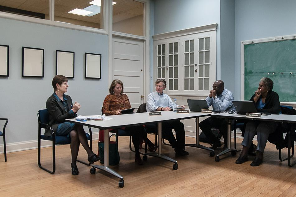 Aldermen and housing and grants administrator Sarah Flax discuss housing for low- to moderate-income residents. Evanston is applying to receive funding from the federal government to provide affordable housing for its residents.