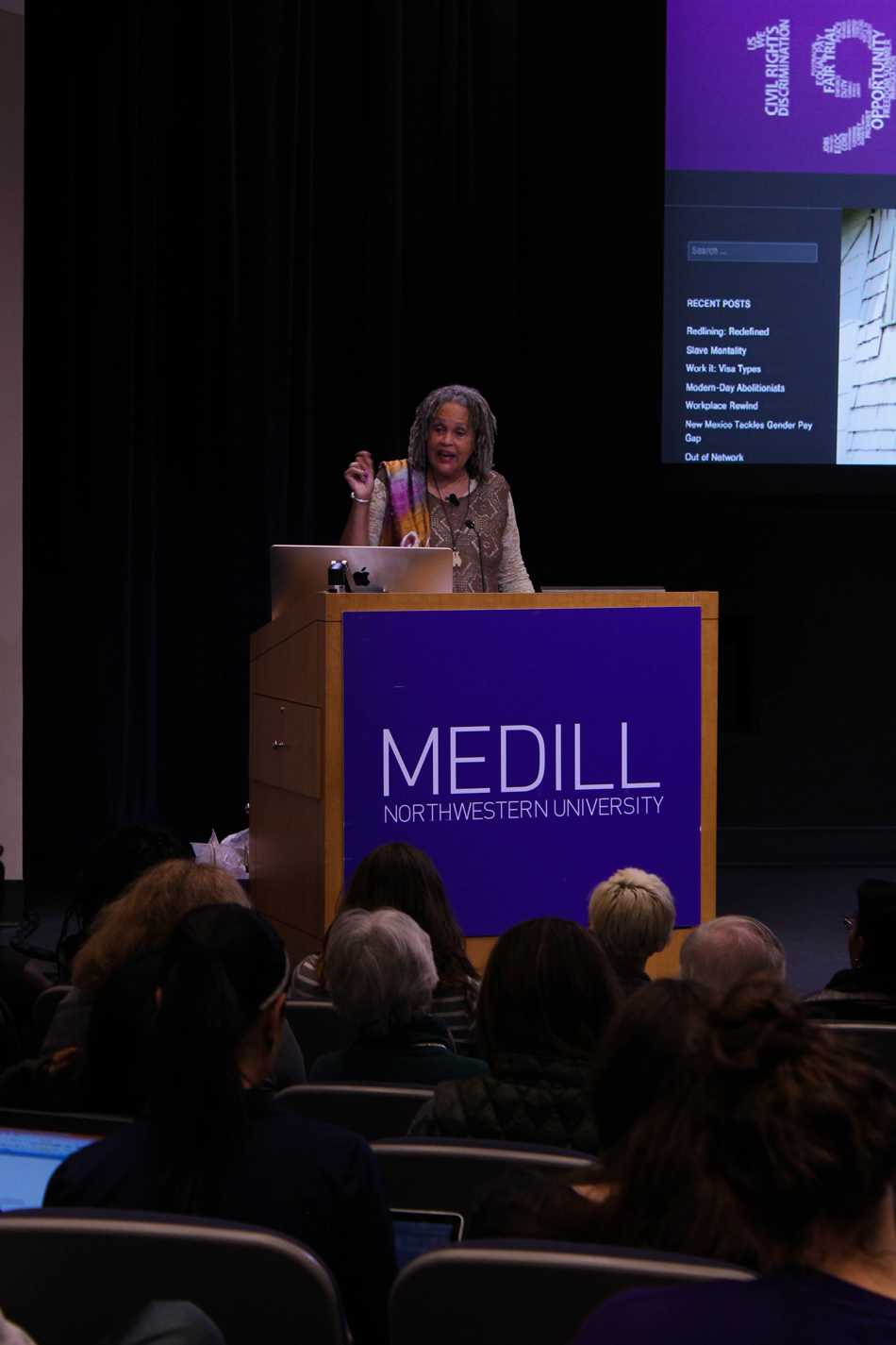 Former PBS and NPR correspondent Charlayne Hunter-Gault speaks at Medill about growing up in the 1960s. Hunter-Gault was one of the first two black students to enroll at the University of Georgia during the civil rights movement.