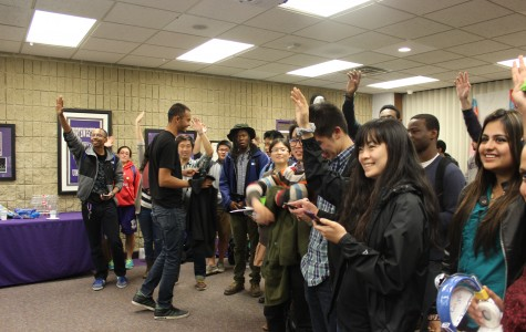 Students celebrate Google's 16th birthday at Norris University Center. The event drew more than 100 participants who sported colorful Google merchandise and heard about internship opportunities at the company.