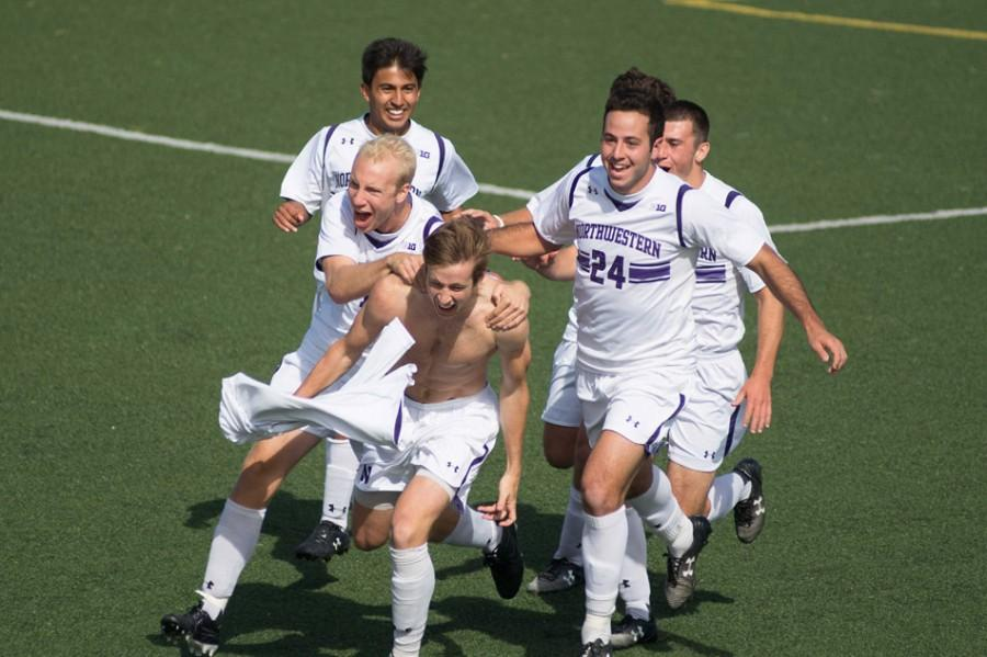 Junior+midfielder+Cole+Missimo+celebrates+after+his+overtime+goal+gave+Northwestern+a+3-2+win+over+Maryland.+The+victory+was+the+Wildcats%E2%80%99+first+in+conference+play.+