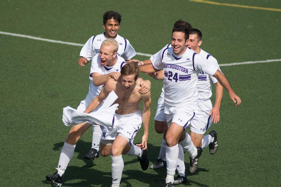 Junior midfielder Cole Missimo celebrates after his overtime goal gave Northwestern a 3-2 win over Maryland. The victory was the Wildcats' first in conference play.