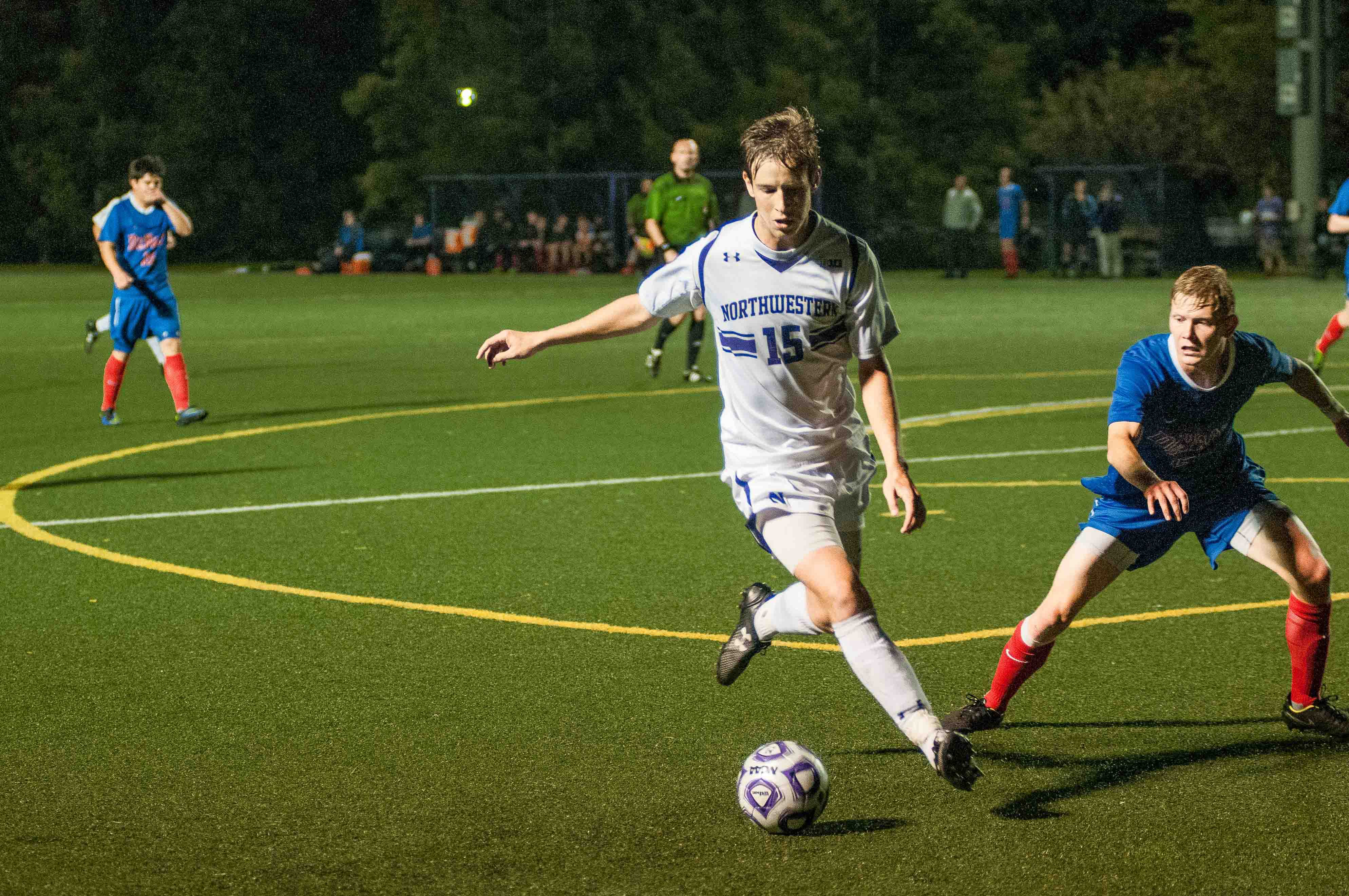 Cole Missimo works his way around a defender. The junior midfielder has used his fancy footwork to score a team-high 5 goals this season.