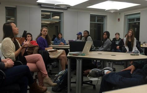 Representatives from student groups discuss ways to increase collaboration to avoid over-programming. The event was hosted by NCDC's campus outreach team Thursday night in Annenberg Hall.
