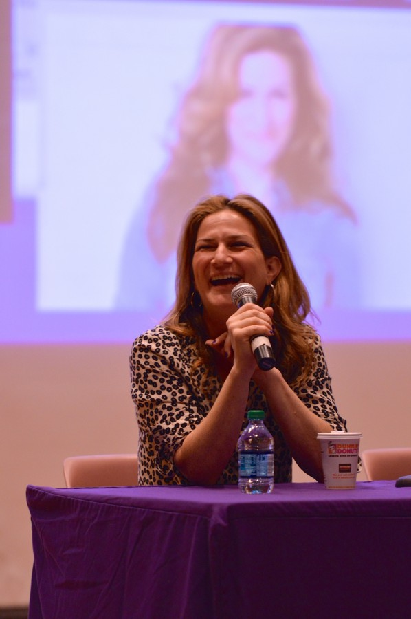 Homecoming Grand Marshal Ana Gasteyer (Communication '89) addresses the audience in Norris University Center on Friday. Gasteyer spoke with a panel of Northwestern alumni about their professional lives after graduation.
