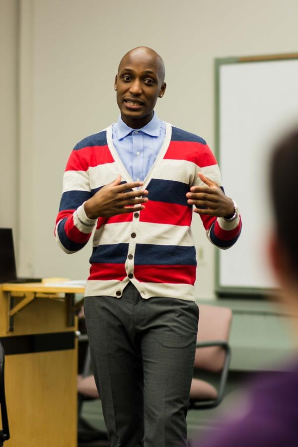 Rwandan genocide survivor Daniel Trust speaks to students during his Rainbow Week talk. Trust came to the United States in 2005 and today works as a motivational speaker and LGBT activist.