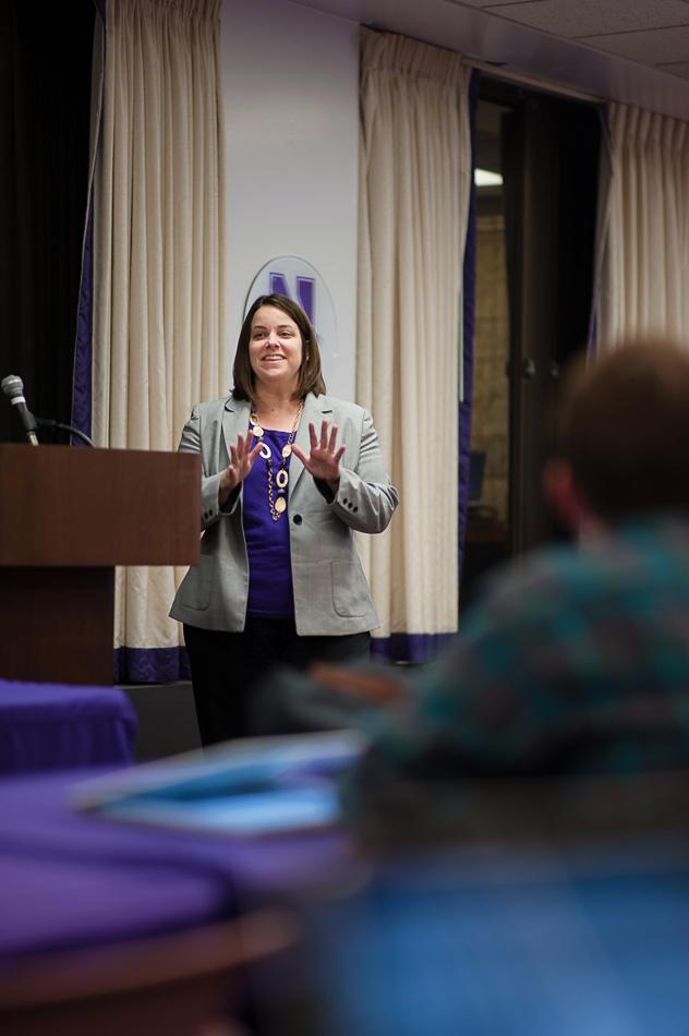 Tara Sullivan, director of student conduct and conflict resolution, discusses the new University Hearing and Appeals System with Senate. At Wednesday's meeting, Associated Student Government approved funding for the Native American and Indigenous Student Alliance's Native American Heritage Month programming.