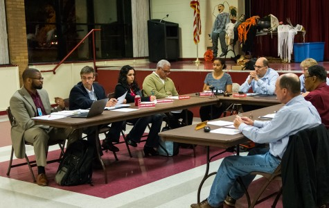 The Evanston Parks and Recreation board discusses park maintenance at a meeting Thursday night. Board members discussed a proposal to ban smoking in all Evanston parks.