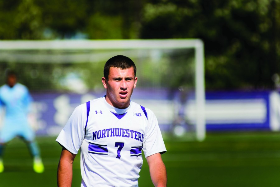Sam+Forsgren+stays+ready+for+action+in+Northwestern%E2%80%99s+most+recent+home+game+against+Maryland.+The+freshman+forward+tallied+a+goal+against+Northern+Illinois%2C+the+first+of+his+career.
