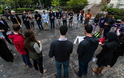 Students gathered at The Rock on Thursday evening for a vigil for people who were killed during the ongoing conflict in the Gaza Strip. The event was organized by J Street U, a student organization promoting peace in the region.