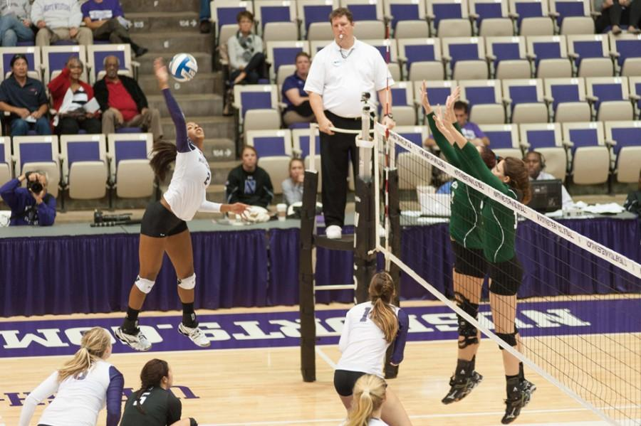 Freshman+outside+hitter+Symone+Abbott+has+been+one+of+Northwestern%E2%80%99s+best+players+and+the+Big+Ten%E2%80%99s+best+freshman.+Through+17+games%2C+she+leads+the+Wildcats+with+209+kills.