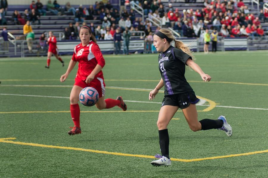 Sophomore+Addie+Steiner+drilled+the+game-winning+goal+Sunday+in+the+97th+minute+of+Northwestern%E2%80%99s+1-0+overtime+victory+over+No.+14+Rutgers.+The+win+lifted+the+Wildcats+to+6-7-3%2C+2-6-2+in+the+Big+Ten+and+kept+their+conference+tournament+hopes+alive.