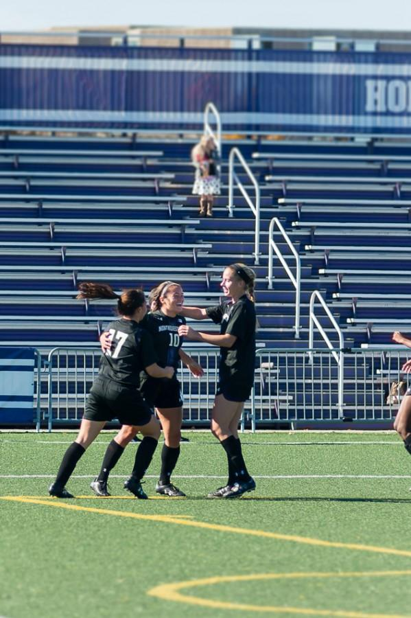 Sophomore+midfielder+Maria+Grygleski+celebrates+with+her+teammates+after+scoring+her+first+goal+of+the+season.+The+Wildcats%E2%80%99+offense+has+found+its+rhythm+recently%2C+scoring+four+times+in+the+past+three+games.