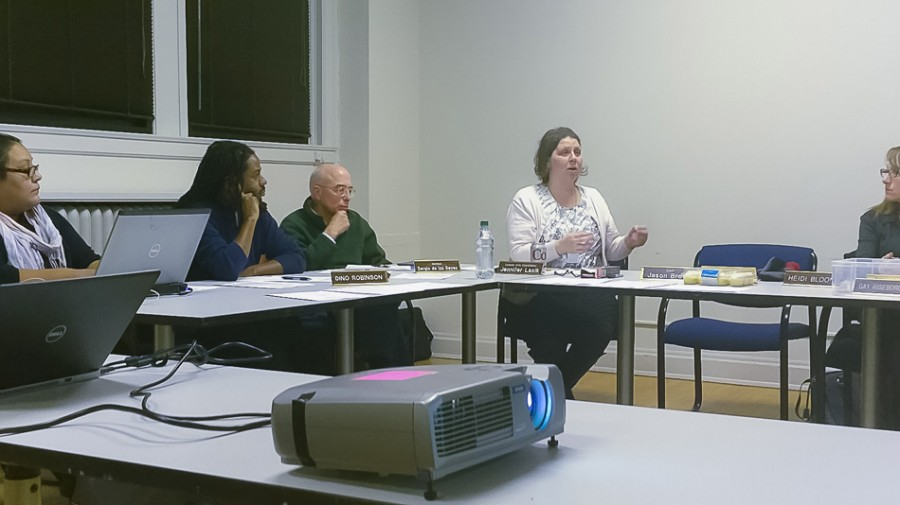 Jennifer Lasik, the city's cultural arts coordinator, talks Tuesday at a joint meeting of the Evanston Arts Council and the Public Art Committee. The councils met to discuss expanding the evanstARTs initiative into a brand for city arts efforts, as well as upcoming arts events.