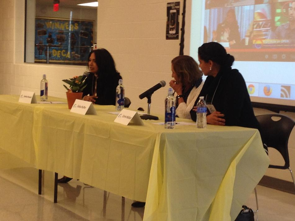 Panelists Samina Hussain, Galya Ruffer and Corrie Wallace talk to a group of about 50 attendees about diversity and inclusion in Chicago's northern suburbs. Grassroots group Open Communities hosted the annual meeting.