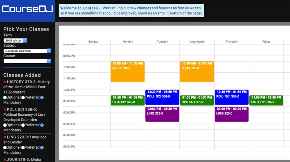 CourseDJ, a new site launched by Associated Student Government last week, allows students to schedule different combinations of classes. The application aims to let students experiment with course scheduling with minimal CAESAR interaction.