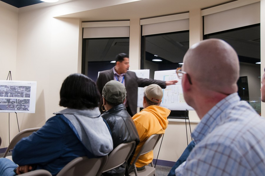 Community+residents+gather+at+the+Erie+Family+Health+Center%2C+1285+Hartrey+Ave.%2C+to+discuss+the+proposed+bike+improvement+plan.+City+officials+presented+the+plan+for+the+area+around+Evanston+Township+High+School%2C+Church+Street+and+Mason+Park.