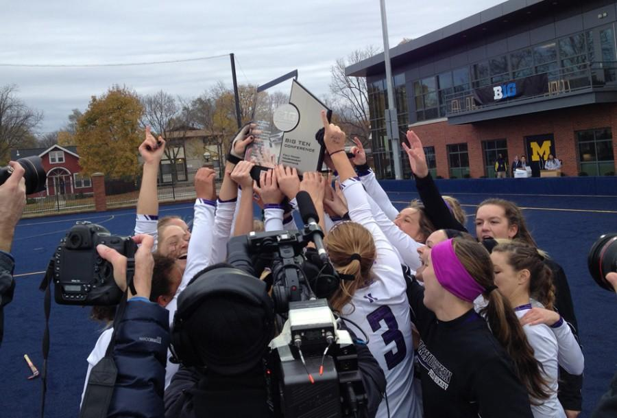 Northwestern+players+celebrate+with+their+trophy+after+defeating+Maryland+to+win+the+Big+Ten+Tournament.+Sophomore+Isabel+Flens+scored+the+go-ahead+goal+for+Northwestern%2C+and+senior+goalkeeper+Maddy+Carpenter+was+named+tournament+MVP.