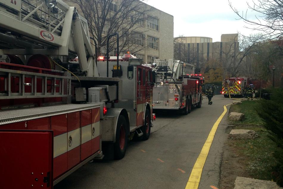 Fire trucks line up outside Kresge Hall on Thursday morning. A small fire that broke out in an electrical room was quickly contained.