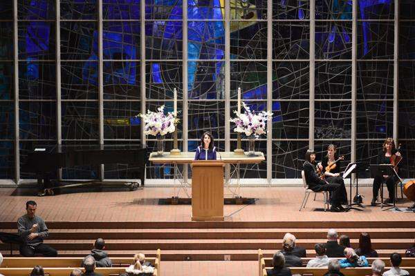 Diane Foley speaks at James Foley's memorial service Thursday at Alice Millar Chapel. Diane Foley thanked the Northwestern community for its support during her son's captivity and after his death.