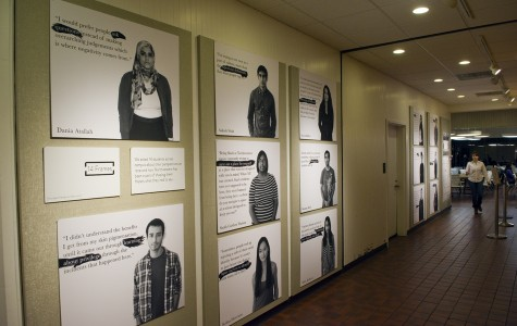 """""""Fourteen Frames"""" a gallery that profiles Northwestern students' experiences with race, is displayed at Norris University Center. The OpenShutter Project, a group within Global Engagement Summit, created the gallery as well as a corresponding Tumblr page."""