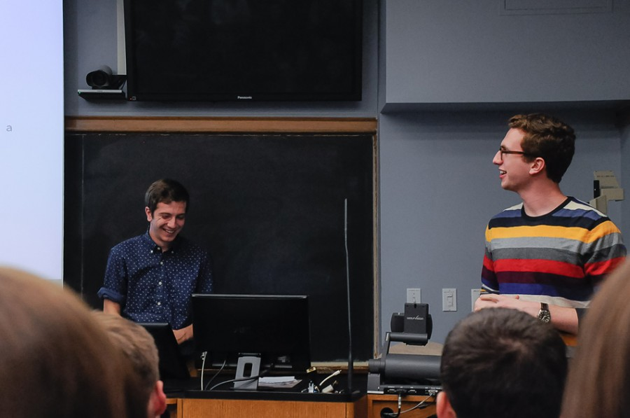 SESP+junior+Jonathon+McBride+and+Communication+sophomore+Will+Altabef+discuss+sexual+assault+and+consent+on+Northwestern%E2%80%99s+campus.+Men+Against+Rape+and+Sexual+Assault+hosted+the+presentation+on+Tuesday.