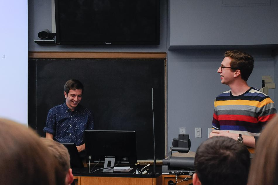 SESP junior Jonathon McBride and Communication sophomore Will Altabef discuss sexual assault and consent on Northwestern's campus. Men Against Rape and Sexual Assault hosted the presentation on Tuesday.