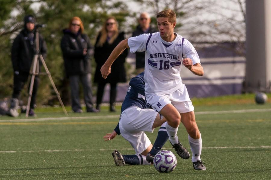Forward+Mike+Roberge%E2%80%99s+third+goal+of+the+season+came+at+the+perfect+time+for+Northwestern.+The+sophomore+scored+in+double-overtime+to+lift+the+No.+20+Wildcats+over+No.+18+Penn+State.