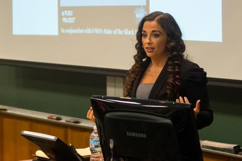 Jasmine Rand, an attorney who represented Trayvon Martin's family during George Zimmerman's trial in 2013, speaks at Northwestern on Thursday. Rand discussed the trial, as well as her experiences as an attorney and professor.