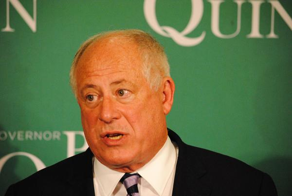 Gov. Pat Quinn tells supporters he will not concede the election until every vote is counted. Quinn, a Democrat, is the first governor to lose re-election in a president's home state since 1892.