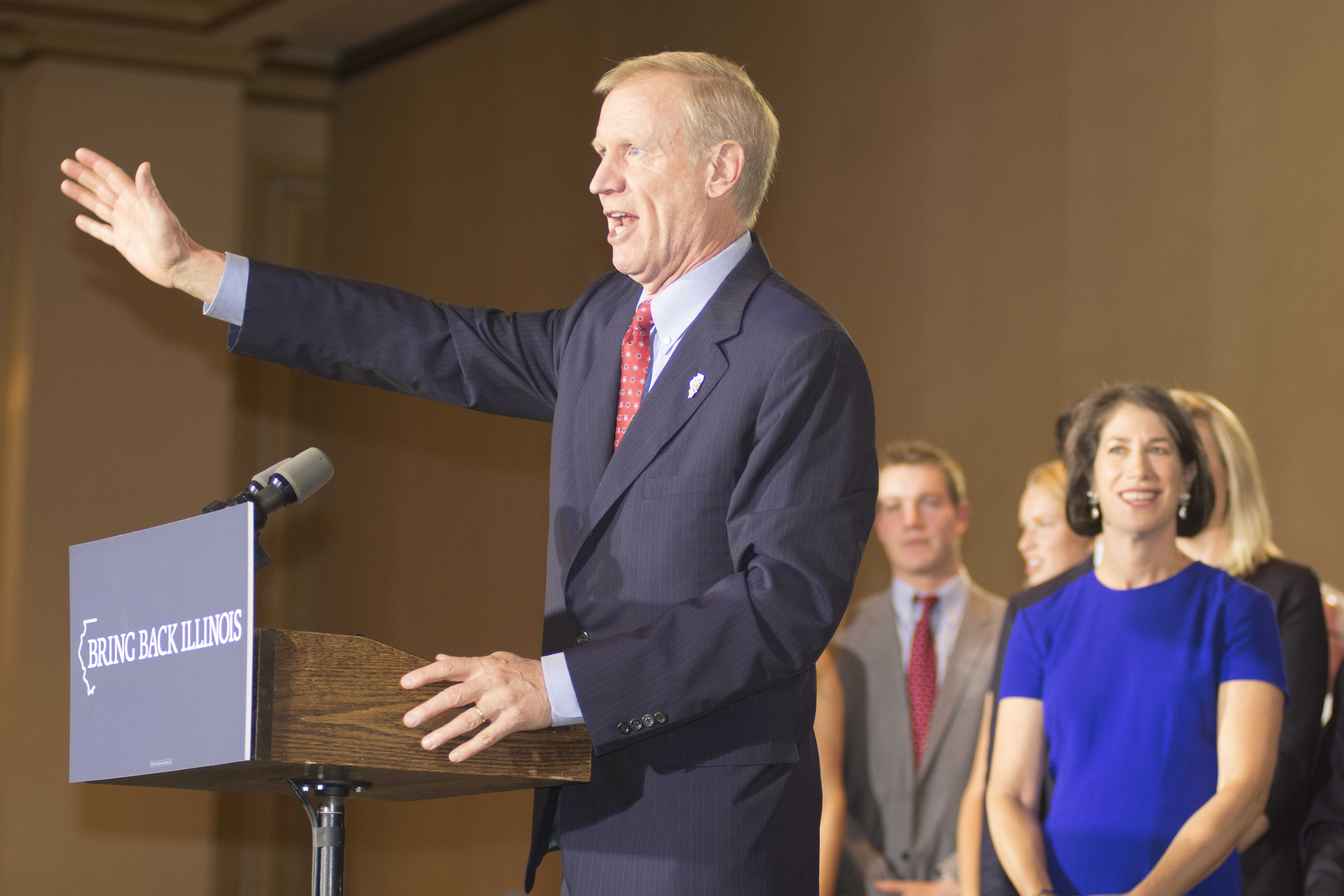 Republican Bruce Rauner speaks to a crowd of supporters Tuesday night at the Hilton Chicago. Rauner beat Gov. Pat Quinn to become the first GOP Illinois governor in 12 years.