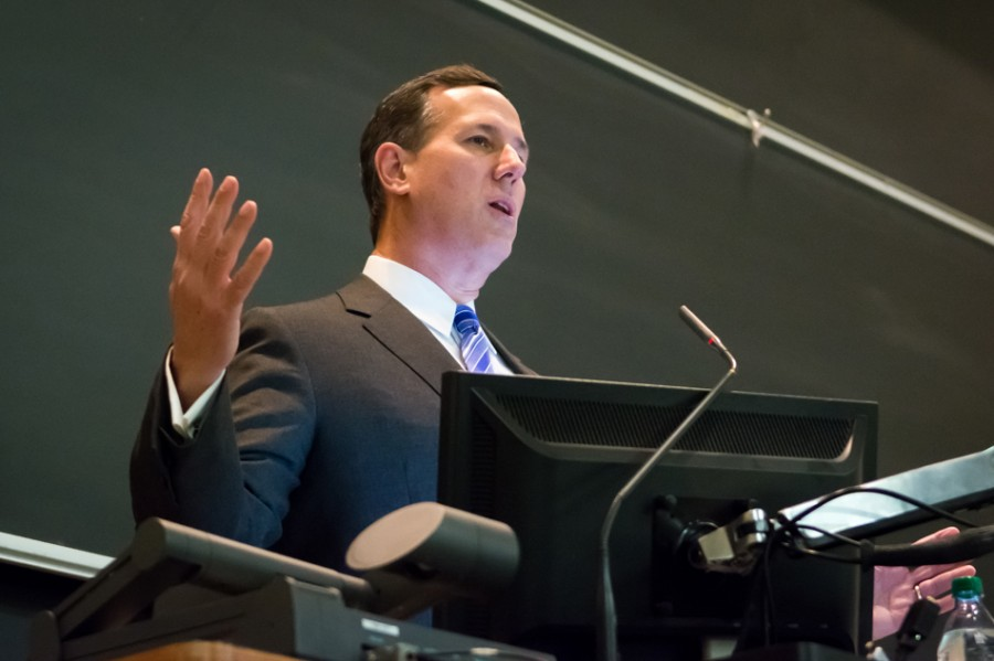 Former U.S. Sen. Rick Santorum speaks in Fisk Hall Wednesday night. Santorum, who ran for president in 2012, spoke on American foreign policy under the Bush and Obama administrations.