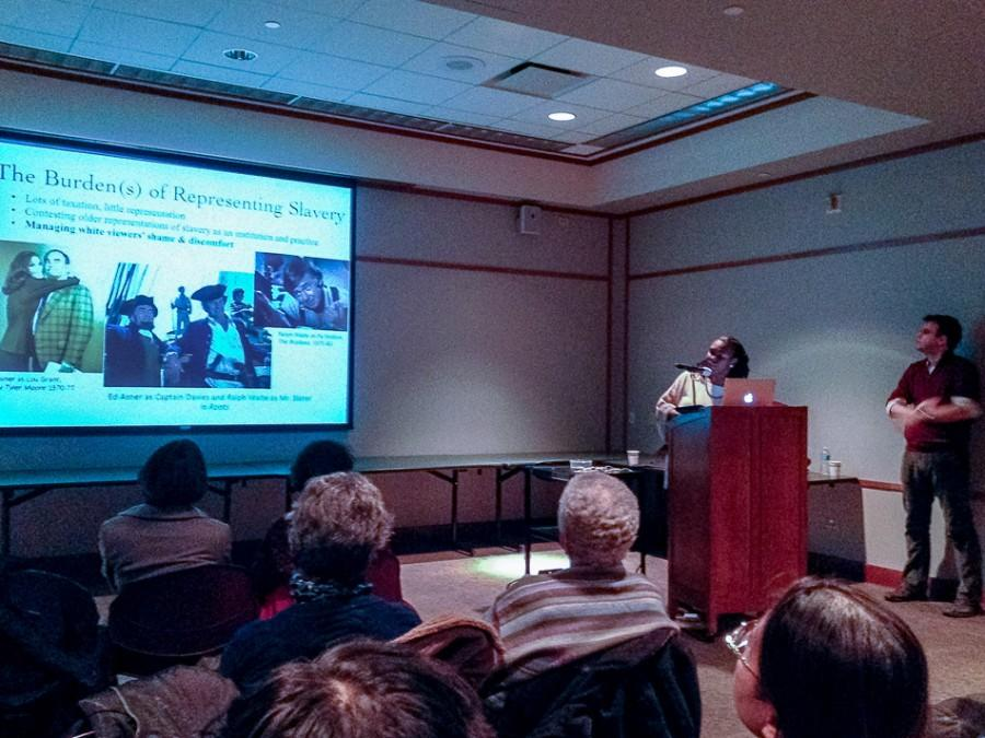 """Northwestern Prof. Miriam Petty presents her views on how slavery and race are depicted in television shows. Professor Nick Davis also joined Petty at the event, called """"Slavery on Screen,"""" on Thursday night at the Evanston Public Library."""