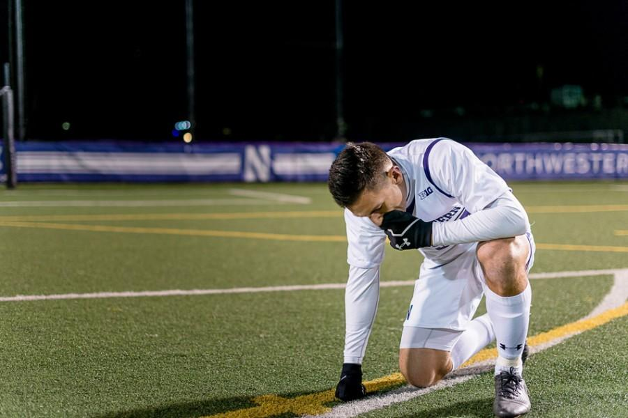 Nikko Boxall composes himself after the loss. The first-round NCAA Tournament game was the senior defender's last at Northwestern.
