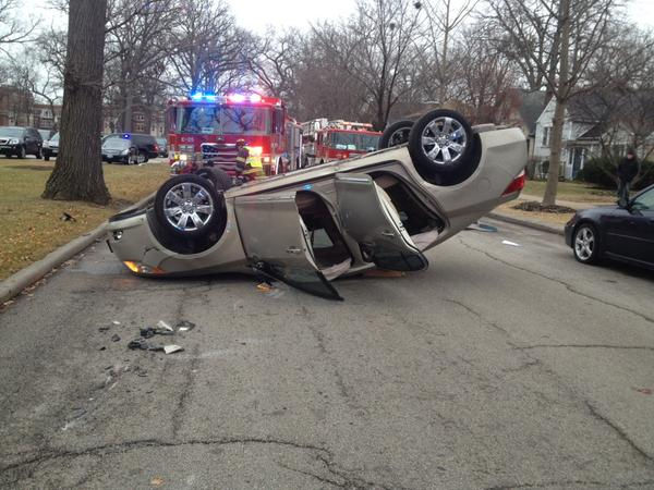 A car rolled over in the 2600 block of Grant Street on Wednesday after veering off the road and hitting a tree. The driver, an 81-year-old Evanston resident, was transported to Evanston Hospital with minor injuries.