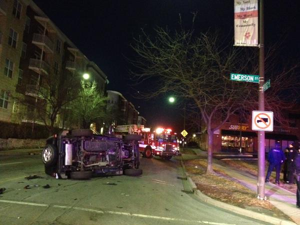 A Jeep lays on its side following a car crash Thursday morning. No injuries were reported after two cars collided at the intersection of Emerson Street and Ridge Avenue.