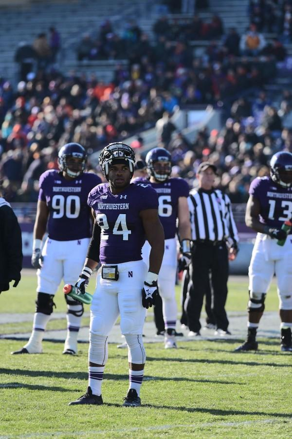 Senior safety Ibraheim Campbell looks to the sideline during Northwestern's season-ending loss to Illinois. Campbell was voted second-team all-Big Ten by the conference media.