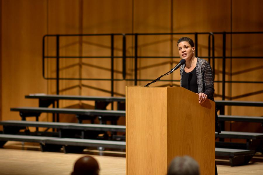 Michelle Alexander, a law professor and civil rights lawyer, speaks to a packed Pick-Staiger Concert Hall about modern racial inequalities in America. Alexander's speech, which focused particularly on disparities in the criminal justice system, concluded Northwestern's annual celebration of Martin Luther King Jr.