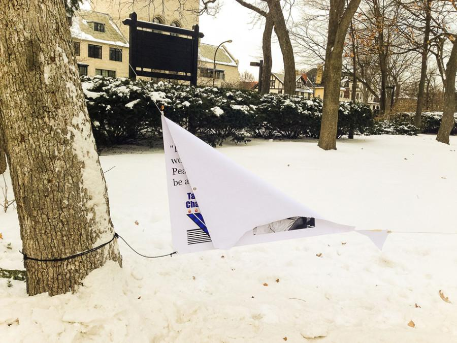 A+banner+hung+by+Wildcats+for+Israel+and+Tannenbaum+Chabad+House+was+torn+in+half+near+The+Arch.+The+banner+was+allegedly+vandalized+Tuesday+evening.+%0A