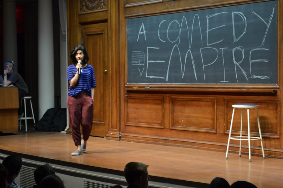 Communication junior Sarah Mowaswes performs at Comedy Empire Friday in Harris Hall. Mowaswes' set focused on her family and taking a quarter off.