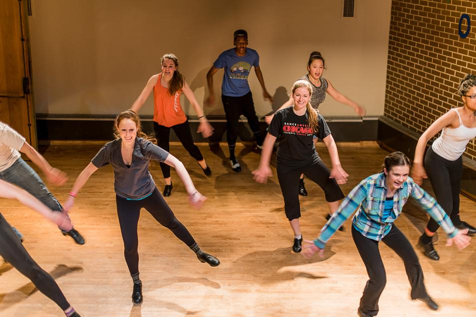 "Performing together for the first time, members of Graffiti and Tonik Tap rehearse. Their show, ""Hooked on Graffoniks,"" opens Jan. 16 in the Jones Great Room."