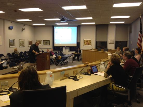 Community members voice concerns over the undetermined fate of the Harley Clarke Mansion at the meeting of the Human Services Committee on Monday evening. The location will be vacant in June after the current resident, Evanston Art Center, relocates.
