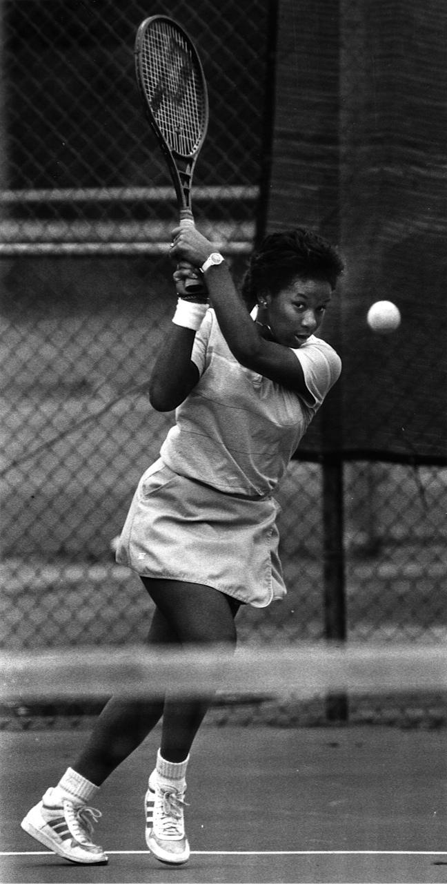 Katrina Adams, pictured during her time at Northwestern, returns a shot. The former Wildcat standout was named president of the U.S.T.A.