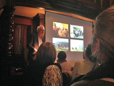 Richard Cahan, who co-authored two collections of Vivian Maier's work, talks to the crowd about the Chicago photographer's early life in France. Cahan presented the lecture on Maier as part of the Evanston History Center's Under the Buffalo Presentation Series.